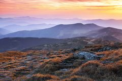 Panorama with interesting sunrise enlightens surroundings. Landscape with beautiful mountains and stones. Fantastic autumn scenery. Touristic resort Carpathian stock photos