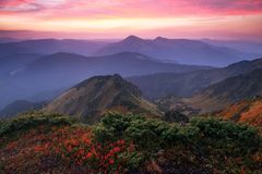 Panorama with interesting sunrise enlightens surroundings. Landscape with beautiful mountains and stones. Fantastic autumn scenery. Touristic resort Carpathian stock photo