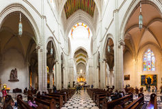Panorama of interior of Almudena Cathedral Stock Images