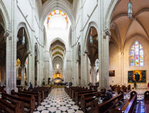 Panorama of interior of Almudena Cathedral  in Madrid Stock Images