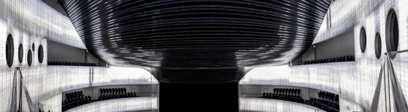 Panorama interior of auditorium. Manuel Rojas Congress Center, B. Badajoz, Spain - October 22, 2017: Congress Center Manuel Rojas, designed by Jose Selgas and Royalty Free Stock Photos