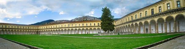 Panoramica inside of Certosa di San Lorenzo. Italy, Padula royalty free stock photo