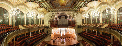 Panorama of interior of Palace of Catalan Music in Barcelona Royalty Free Stock Photography