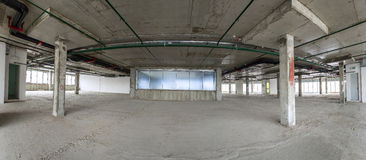 Panorama of interior under construction. Stock Photo
