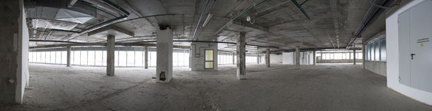 Panorama of interior under construction. Royalty Free Stock Photos