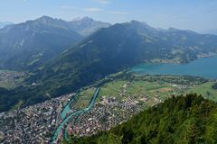 Panorama Interlaken Zwitserland stock foto's