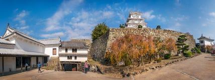 Panorama of an internal courtyard at Himeji Castle, Japan. Himeji Castle, Hyogo Prefecture, Japan -November 8, 2018: People visiting Himeji Castle in autumn stock image