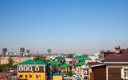Panorama of the Irkutsk Sloboda 130 Quarter located in Irkutsk, Russia. Royalty Free Stock Photo