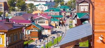 Panorama of the Irkutsk Sloboda 130 Quarter located in Irkutsk, Russia. Stock Images