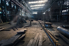 Panorama of iron workshop in shipyard. Panorama of iron workshop in shipyard - horizontal Stock Image
