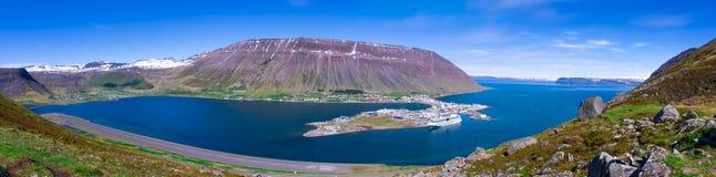Isafjordur. Panorama of Isafjordur at sumer, Isafjordur Iceland Stock Image