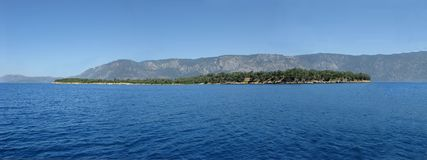 Panorama of an island in the aegean sea Stock Images