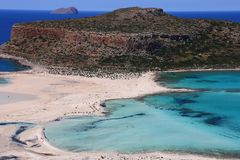 Panorama of island balos, beautiful snow-white beach sunny day stock photography