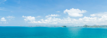 Panorama of island and blue sea in afternoon at sattahip chonburi thailand Stock Images