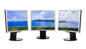 Panorama of island on computer screens Stock Photography