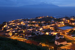 Panorama of the island of Corvo Azores Portugal at night Stock Photo
