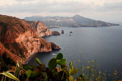 Panorama from island Lipari. View of the Aeolian Islands Royalty Free Stock Photos