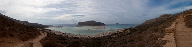 Panorama, Island, Mediterranean Sea, Balos bay, Crete Greece Stock Photography
