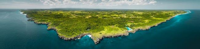Panorama island, ocean. Aerial drone shot. Indonesia. royalty free stock photo