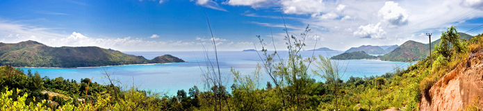 Panorama of island Praslin Stock Photos