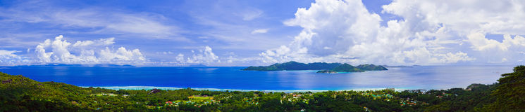Panorama of island Praslin and Mahe at Seychelles. Nature background stock photo
