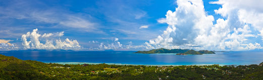 Panorama of island Praslin and Mahe at Seychelles Stock Photography
