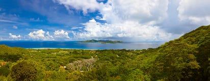 Panorama of island Praslin and Mahe at Seychelles Stock Photos