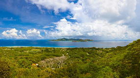 Panorama of island Praslin and Mahe at Seychelles Royalty Free Stock Photography