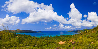 Panorama of island Praslin, Seychelles. Vacation background stock image