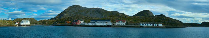Panorama. Island Skrova of Norwegian Lofoten Stock Photos