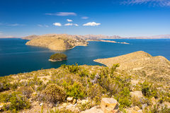Panorama from Island of the Sun, Titicaca Lake, Bolivia Stock Images