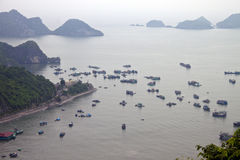 Panorama of islands around Cat Ba island Royalty Free Stock Photography