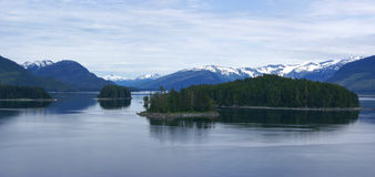 Panorama, Islands and conifer forests Stock Photo