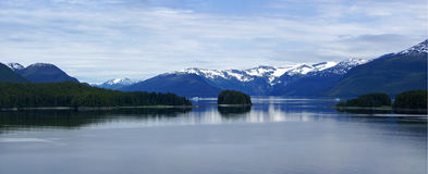 Panorama, Islands and conifer forests Stock Photos