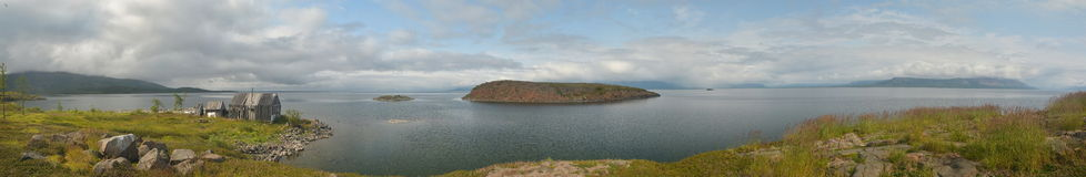 Panorama. Islands in the North lake. Royalty Free Stock Images
