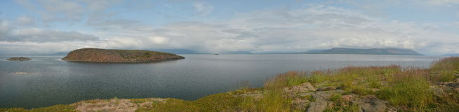 Panorama. Islands in the North lake. Royalty Free Stock Photo