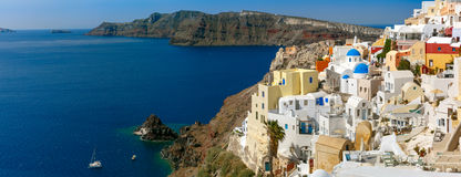 Panorama of islands Santorini and Therasia, Greece Royalty Free Stock Photography