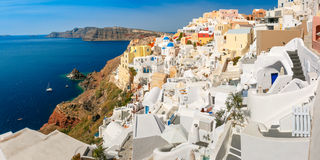 Panorama of islands Santorini and Therasia, Greece Stock Images
