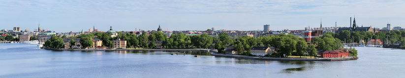 Panorama of islands Skeppsholmen and Kastellholmen in Stockholm Royalty Free Stock Images