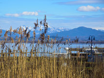 Panorama from the isle of women. Foto of the Chiemsee lake in Bavaria taken from the isle of women (fraueninsel Royalty Free Stock Photos