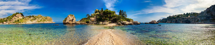 Panorama of Isola Bella in Taormina. Panorama of the beach and island Isola Bella in the city Taormina, Sicily royalty free stock photography