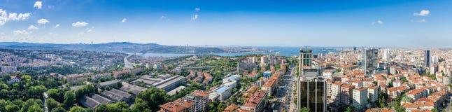 The Panorama of Istambul. The view on Istambul, Bosporus and the bridge. Panorama Royalty Free Stock Image