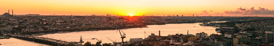Panorama in Istanbul ay sunset Stock Photo