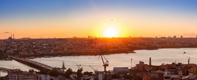 Panorama in Istanbul ay sunset Stock Images