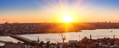 Panorama in Istanbul ay sunset Royalty Free Stock Photos