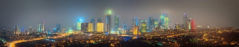 Panorama of Istanbul and Bosporus at night Royalty Free Stock Photography