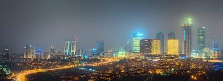 Panorama of Istanbul and Bosporus at night Royalty Free Stock Image