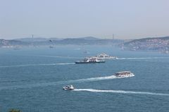 Panorama Istanbul and Bosporus. Panoramic view of Istanbul. Europe meets Asia in Istanbul. Horizontal panorama of bosphorus. Panorama Istanbul and Bosporus Stock Photo
