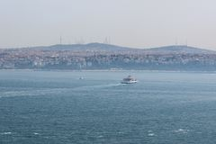 Panorama Istanbul and bosporus. Panoramic view of Istanbul. Europe meets Asia in Istanbul. Horizontal panorama of bosphorus. Panorama Istanbul and bosporus Stock Images
