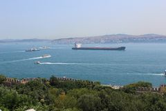Panorama Istanbul and bosporus. Panoramic view of Istanbul. Europe meets Asia in Istanbul. Horizontal panorama of bosphorus. Panorama Istanbul and bosporus Royalty Free Stock Image